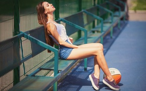 Picture girl, the sun, bench, shorts, the ball, sneakers, Mike, brown hair, legs, sitting, Playground, cute, …