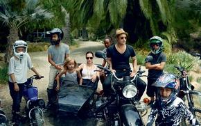 Picture children, palm trees, photo, celebrity, hat, family, Angelina Jolie, Angelina Jolie, glasses, motorcycle, helmet, Brad …