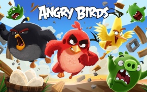 Picture cinema, animation, Red, game, sky, bird, wings, feathers, cartoon, movie, series, film, friends, angry, Angry …
