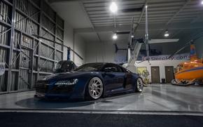 Picture audi, blue, hangar, boden, R8