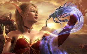 Picture rendering, dragon, elf, Blood Elf, World Of Warcraft