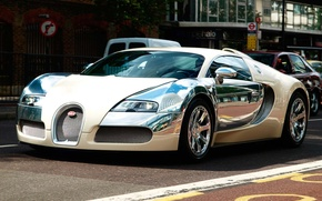 Picture the city, morning, Bugatti, Veyron, road., the Volkswagen