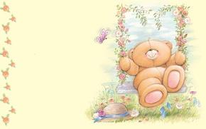 Picture summer, flowers, swing, mood, the game, art, bear, children's, Forever Friends Deckchair bear