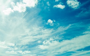 Wallpaper the sky, clouds, light, blue