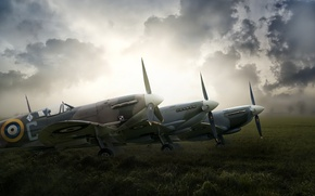 Picture field, fog, aircraft