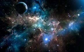 Picture space, stars, Nebula, blue
