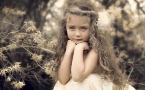 Picture portrait, curls, girl, curls