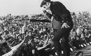 Picture music, Wallpaper, scene, guitar, dance, microphone, actor, singer, the audience, fans, elvis presley, 1957, rock-n-roll, …