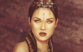 Picture look, priestess, decoration, face, hairstyle, makeup, shoulders, girl, lips, Queen