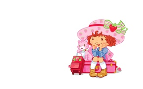 Picture background, art, girl, kitty, journey, children's, suitcase