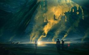 Picture fiction, rocks, smoke, the suit, ruins, art, the astronauts, evaporation