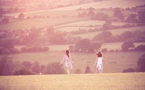 Wallpaper field, summer, grass, freedom, the sun, trees, joy, landscape, heat, girls, mood, hills, girls, walk, ...