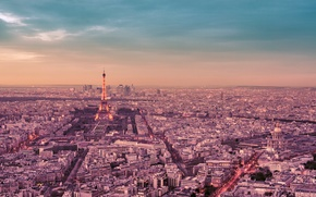 Picture the sky, clouds, trees, the city, France, Paris, building, road, home, panorama, Eiffel tower, Paris, ...