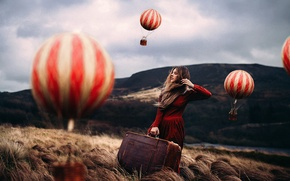 Picture girl, balloons, art, suitcase, Rosie Hardy, Mind Traveller