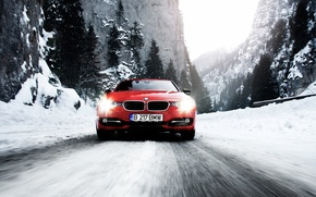 Picture winter, road, snow, mountains, speed, BMW