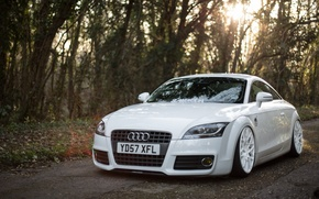 Picture Audi, Car, White, Wheels, Stanceworks