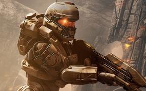 Picture future, Microsoft, fire, battlefield, flame, gun, game, soldier, weapon, woman, war, fight, Spartan, Xbox 360, …