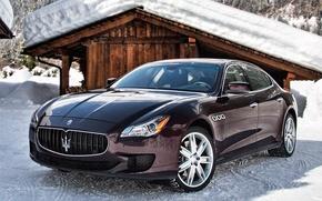 Picture snow, Maserati, Quattroporte, car, Maserati, Italian