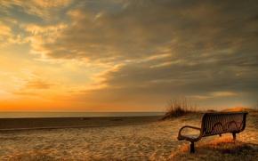 Wallpaper sea, bench, landscape, sunset
