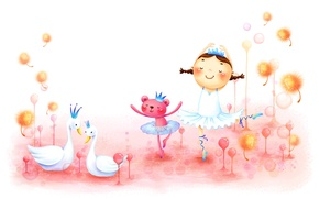 Picture childhood, figure, dance, girl, braids, swans, animal, fabulously
