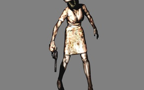 Picture gun, blood, monster, zombies, game, grey background, nurse, Silent Hill, Silent hill
