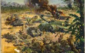 Picture fire, oil, picture, battle, soldiers, the airfield, canvas, tanks, aircraft, shots, the artist Terence Cuneo