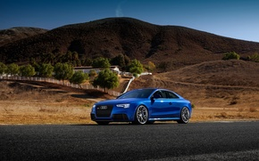 Picture Audi, Car, Blue, RS5, Sport, Road, Wheels, Tuned, HRE