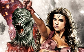 Picture girl, figure, Adriana Lima, fangs, Adriana Lima, beautiful, warrior, blood, the severed head of the …