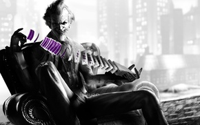 Picture card, smile, batman, Joker, villain, joker, arkham city