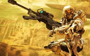 Picture fiction, gold, AVP, space soldier, soldiers with weapons