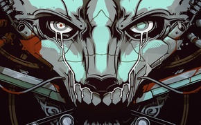 Picture wire, tears, mouth, Mask, beast, cyborg