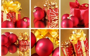 Picture balls, red, collage, new year, gifts, gold