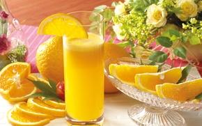 Picture flowers, glass, oranges, juice