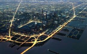Wallpaper large, movement, transport, port, lights, night, city, Fourside mother2