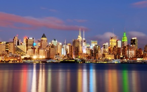 Picture night, the city, lights, surface, home, new-york, new York