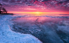 Picture cold, ice, winter, sunset, lake