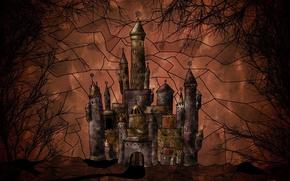 Wallpaper vector, trees, castle
