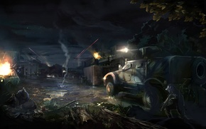 Picture machine, night, the city, war, burns, Arma 3, tracer
