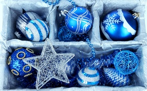 Picture winter, balls, box, balls, toys, New Year, Christmas, beads, the scenery, Christmas, bumps, blue, holidays, …