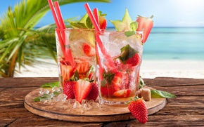 Wallpaper sea, beach, strawberry, cocktail, summer, beach, fresh, sea, strawberry, paradise, drink, mojito, cocktail, Mojito, tropical