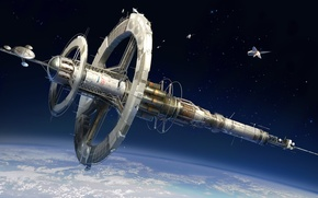 Picture space, ship, planet, station, art, orbit