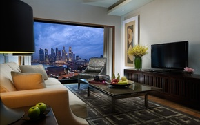 Picture room, sofa, style, interior, table, the city, TV, Singapore, chair, vase, picture, beige, table, window, ...