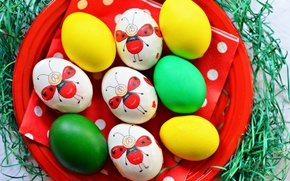 Picture holiday, figure, eggs, plate, Easter