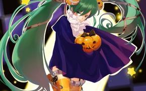 Picture stockings, Halloween, pumpkin, cloak, vocaloid, Halloween, Hatsune Miku, stars, Vocaloid, green eyes, bandage, trick or …
