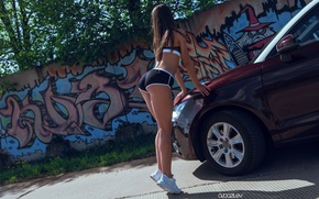 Wallpaper graffiti, wall, figure, slim, sports, bra, photographer, topic, girl, brunette, sexy, Sunny, pose, Alex Bazilev, ...