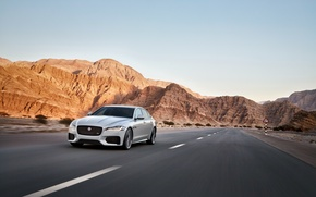 Picture Jaguar, Road, Speed, Landscape, Speed, White, Road, 2016, Jag, XF-S