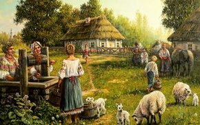 Picture summer, art, well, Andrey Lyakh, the village
