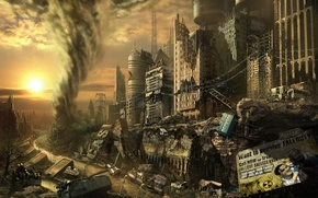 Picture the city, element, tornado, dump, ruins, Fallout, drawing
