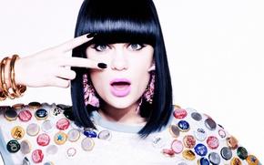 Wallpaper look, girl, background, surprise, earrings, lipstick, brunette, singer, bracelets, lacquer, jessie j