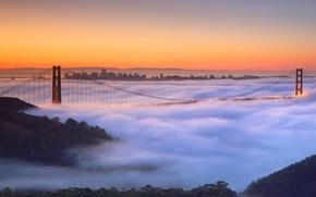 Picture bridge, fog, CA, support, San Francisco, Golden Gate, USA
